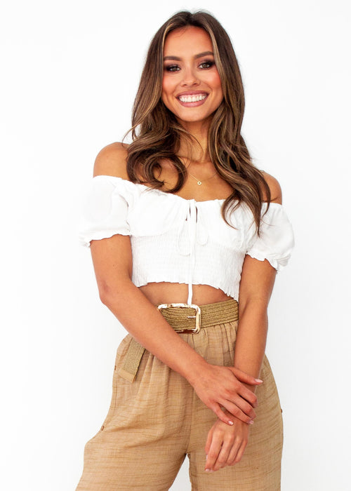 American Dream Cropped Blouse - White