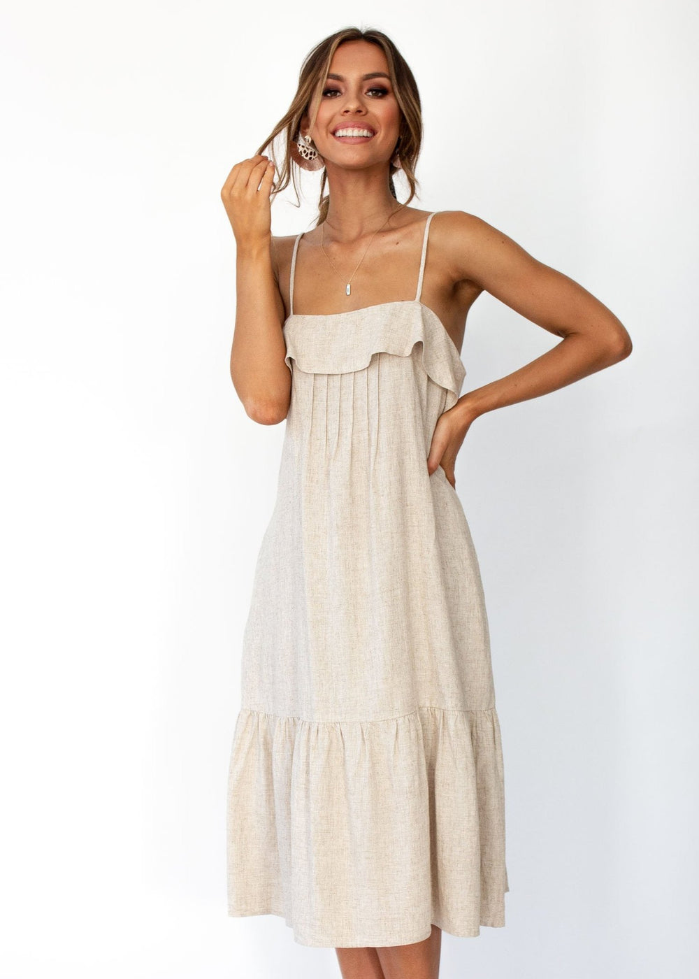 Women's Head In The Clouds Midi Dress - Natural
