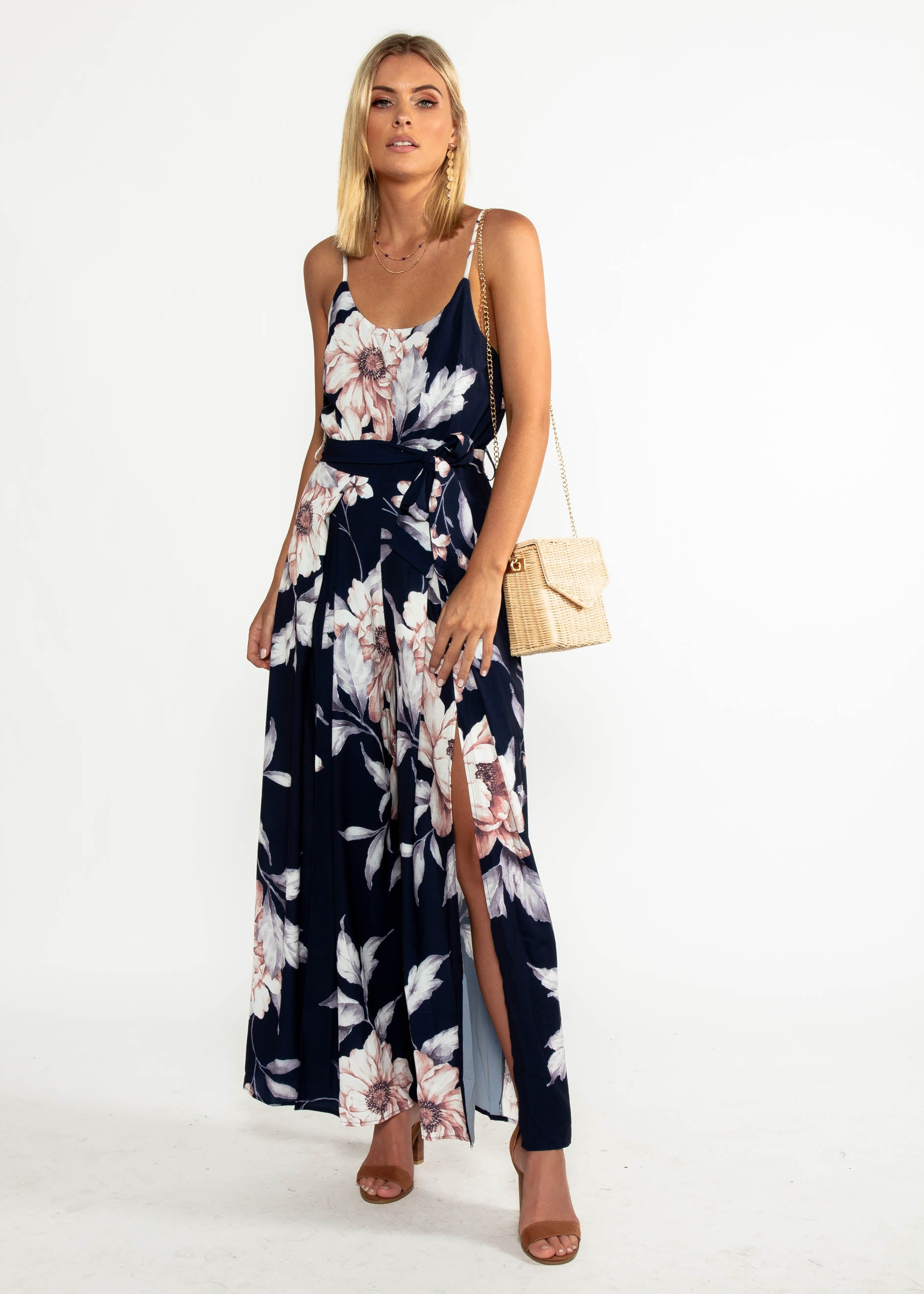 Electric Feeling Pantsuit w/ Tie - Navy Floral