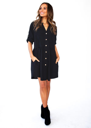 Laid Back Cotton Shirt Dress - Black