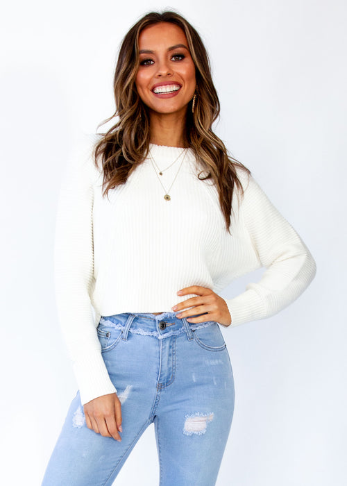 Women's Kelsea Cropped Sweater - Cream