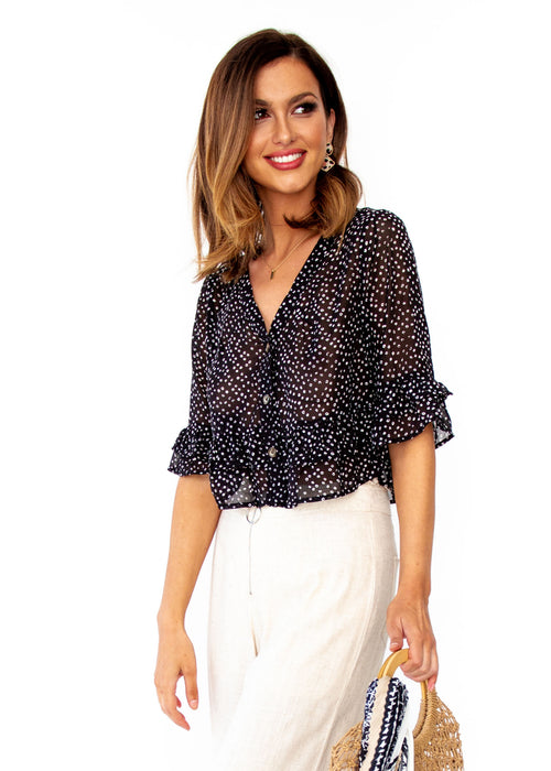 Women's Desert Flame Blouse - Black Spot Print