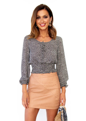 Women's Bewitched Crop Blouse - Black Leopard Print