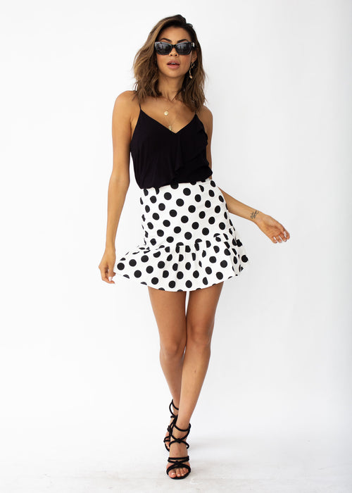 Take My Hand Skirt - White Polka
