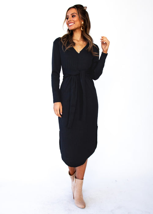 Keep Moving On Midi Dress - Black