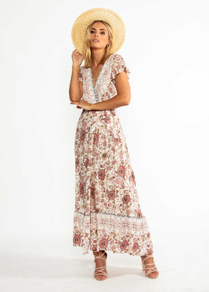 Mackenzie Wrap Maxi Dress - Vintage Rose