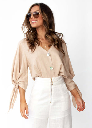 Women's Next To Me Buttoned Blouse with tie on sleeves - Sand