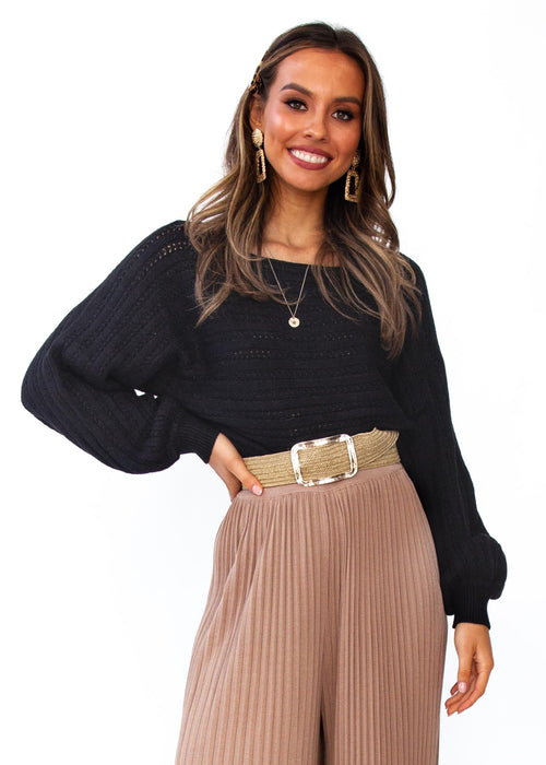 Women's Sleep Talking Cropped Sweater - Black