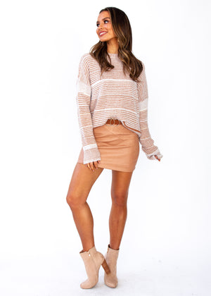 Wild Maiden Sweater - Tan/White