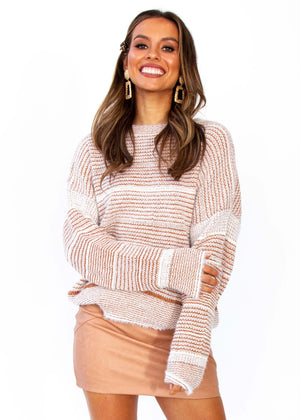 Women's Wild Maiden Sweater - Tan/White