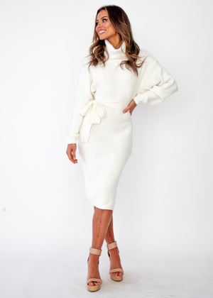 Angelika Knit Midi Dress - Cream