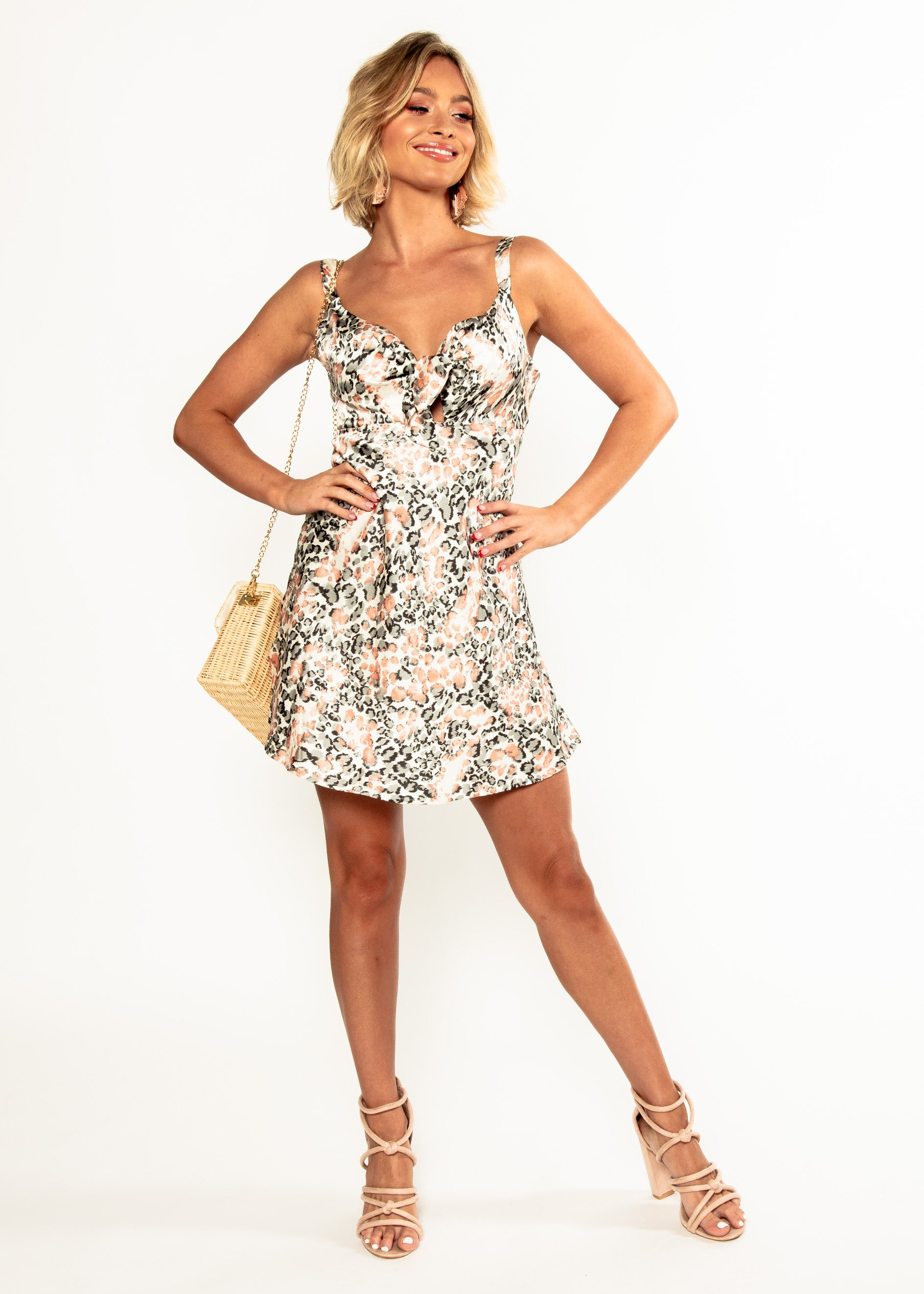 Lilah Tie Dress - Peach Leopard