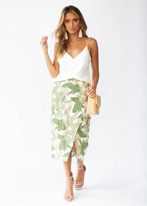 Look To You Linen Wrap Midi Skirt - Palm