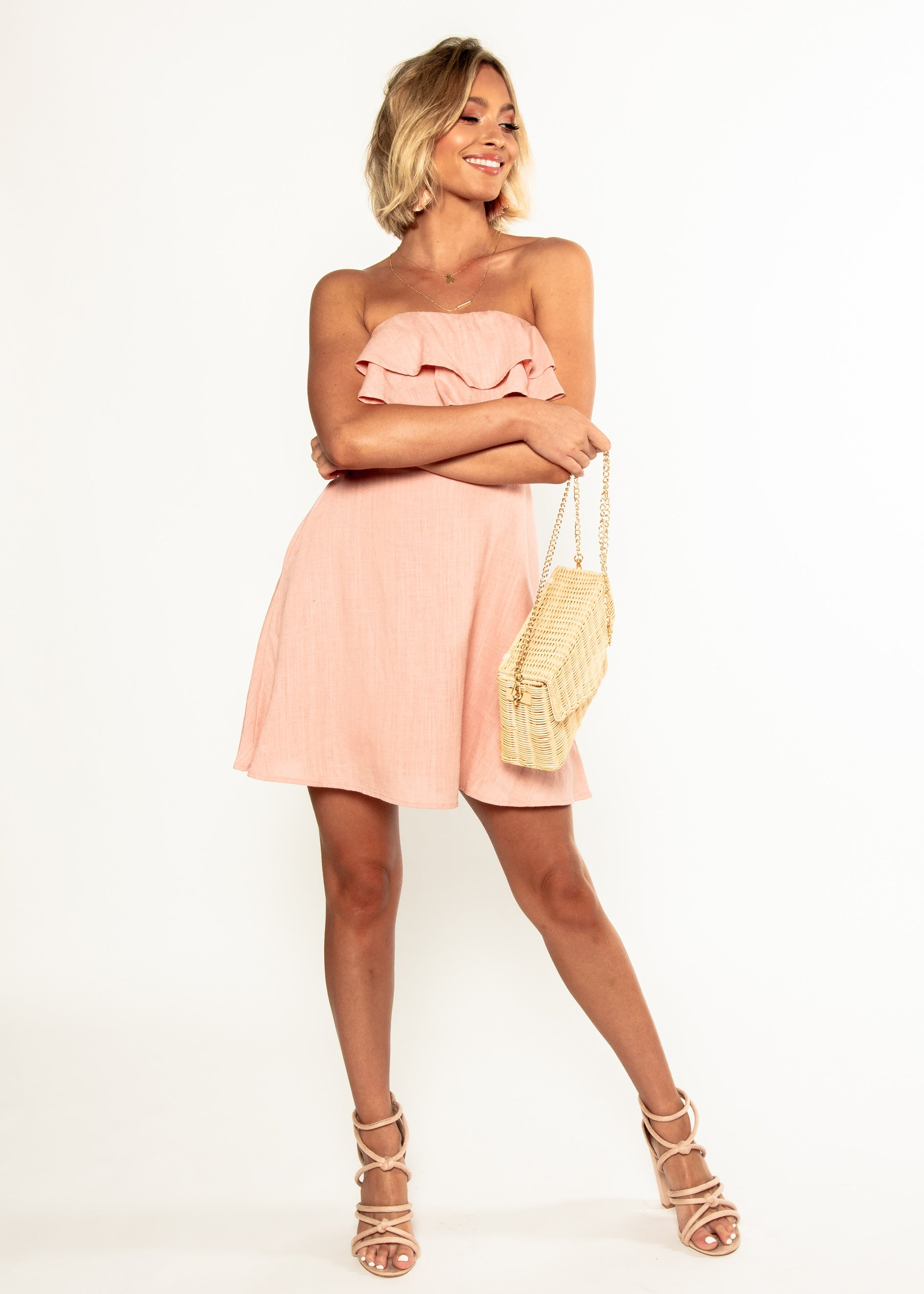 Nevaeh Linen Strapless Dress - Blush