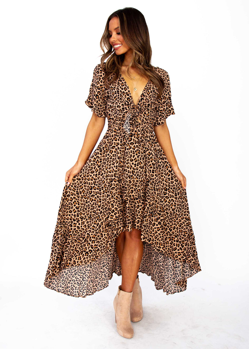 Women's Feel Like This Hi-Lo Maxi Dress - Leopard Print