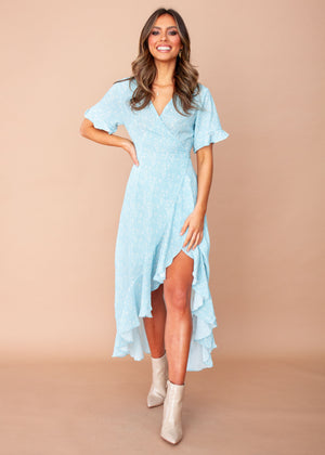 Clarissa Wrap Midi Dress - Delphine