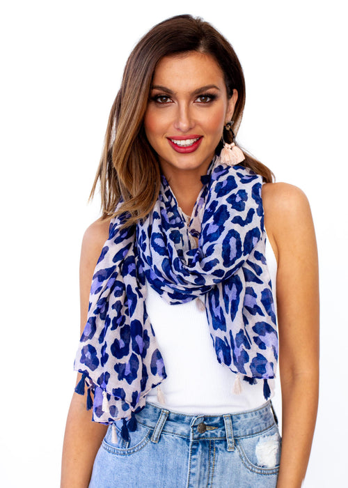 Women's Take Me Scarf - Navy Cheetah Print