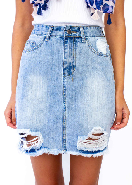 Capricorn Denim Skirt - Faded Blue