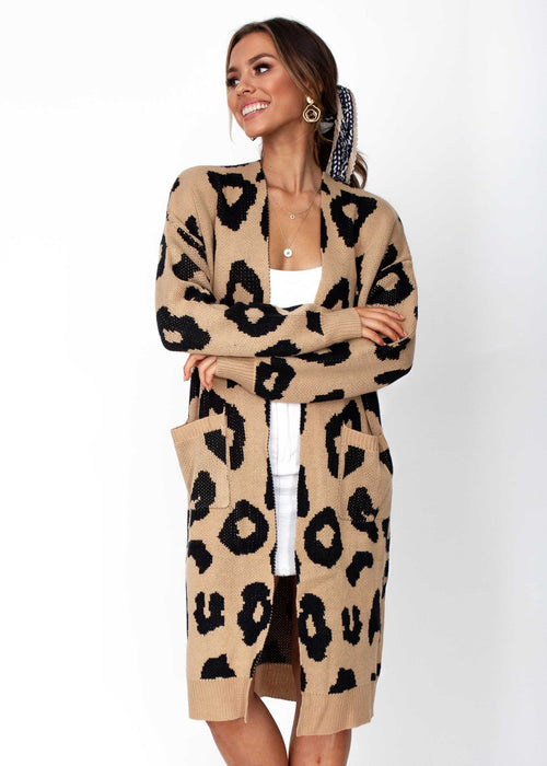 Women's Only A Moment Cardigan - Mocha Leopard