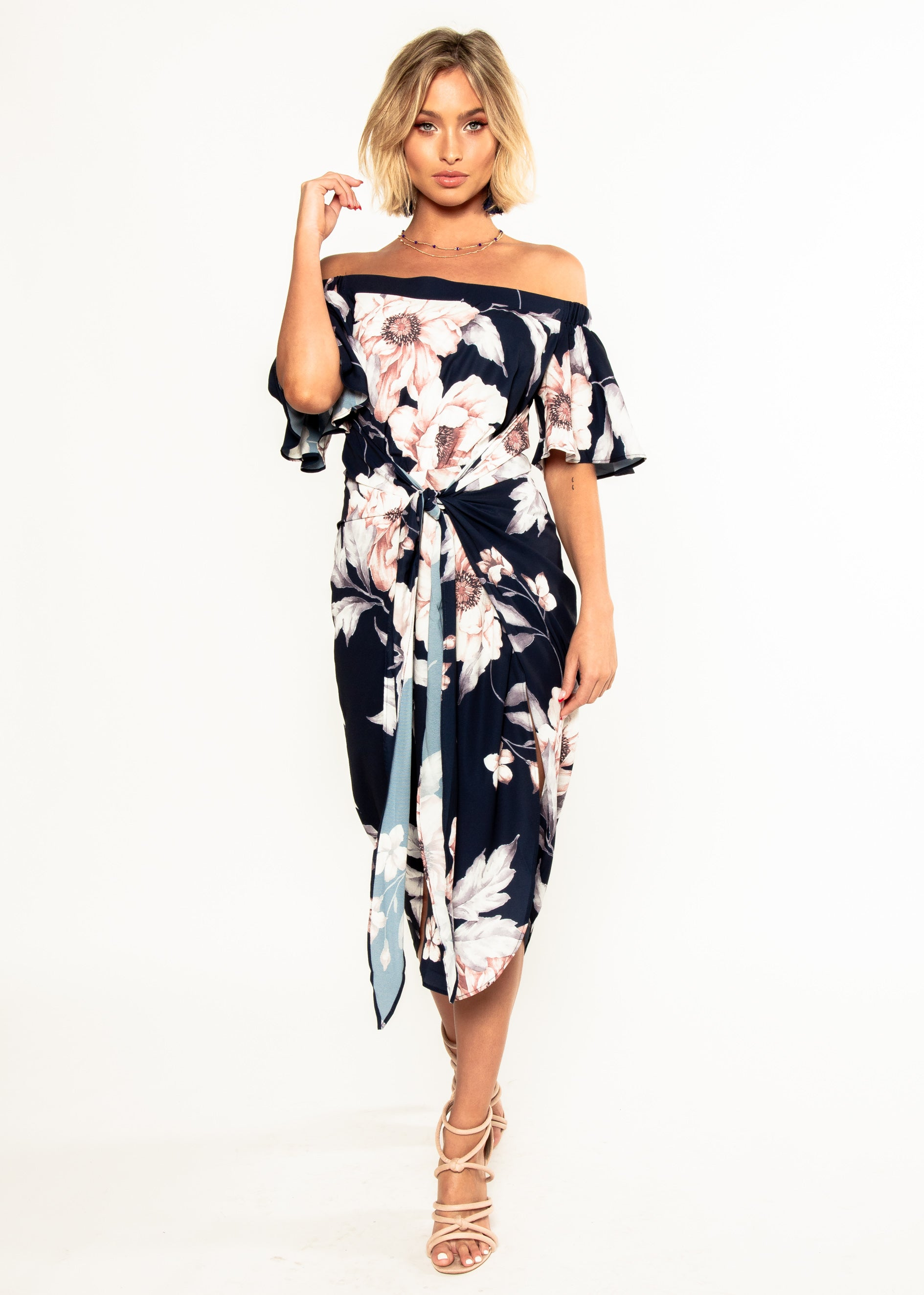 Candid Moment Off Shoulder Midi Dress - Navy Floral
