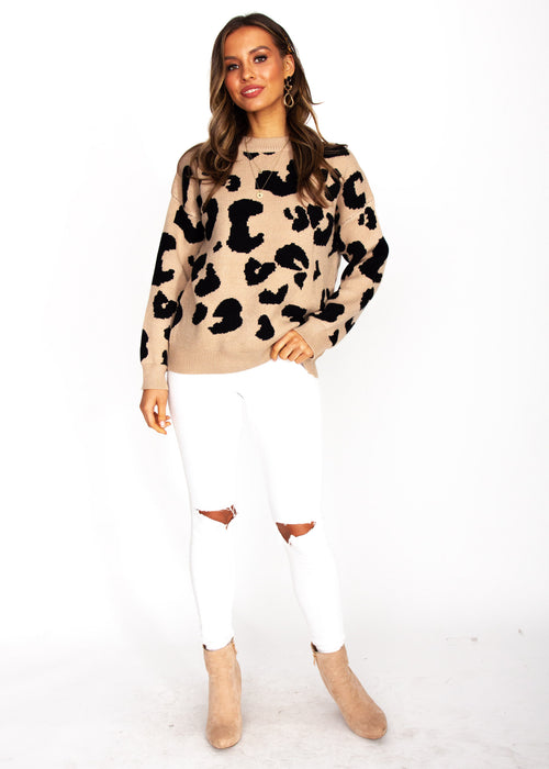 Harrison Sweater - Mocha Leopard