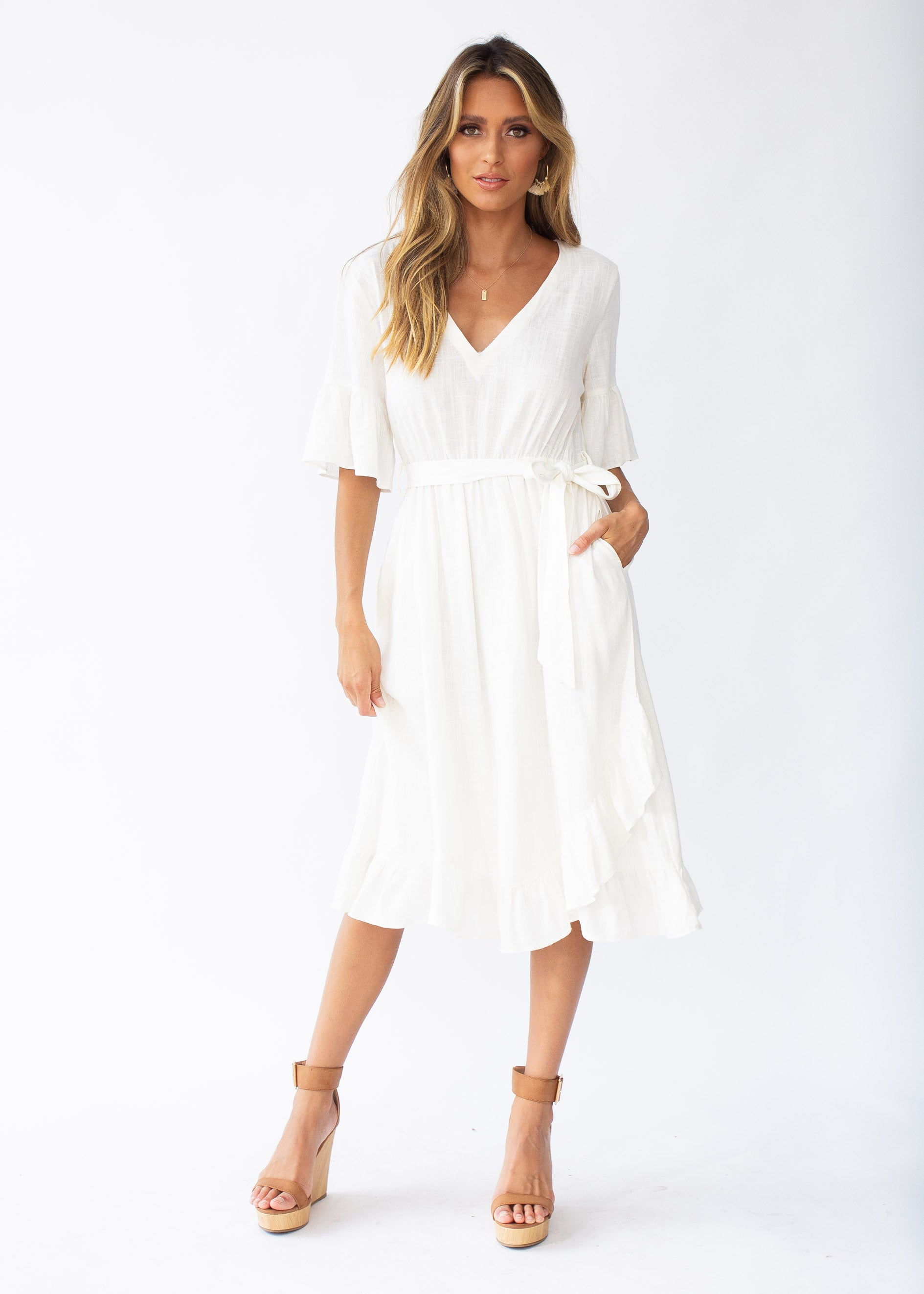 Kalia Linen Midi Dress - Off White