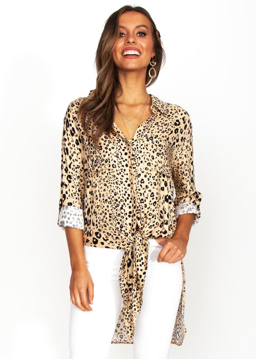 Better For You Shirt - Nude Leopard