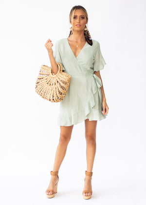 Afterthought Wrap Dress - Light Sage