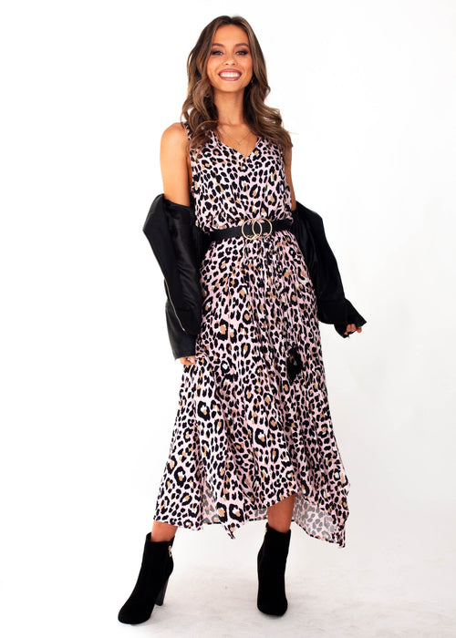 Kaycee Maxi Dress	- Blush Leopard Print