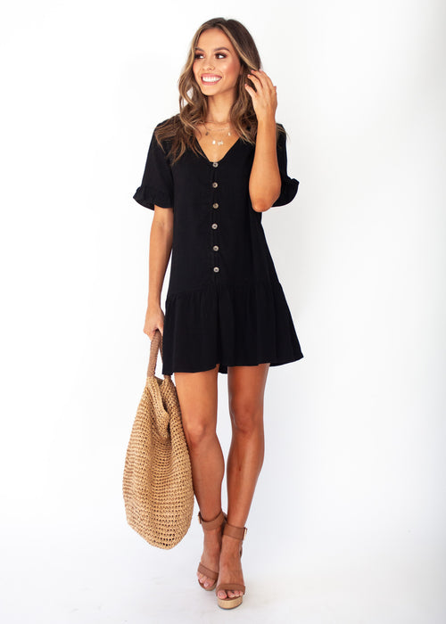 Midnight Chase Linen - Black Dress