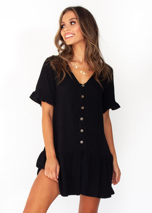 Women's Midnight Chase Linen - Black Dress
