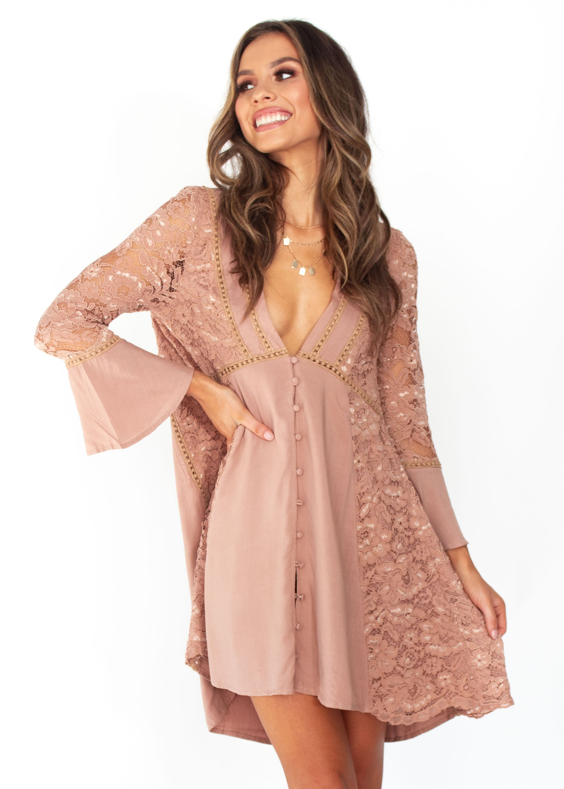 Wome's Sagittarius Lace Dress - Mocha