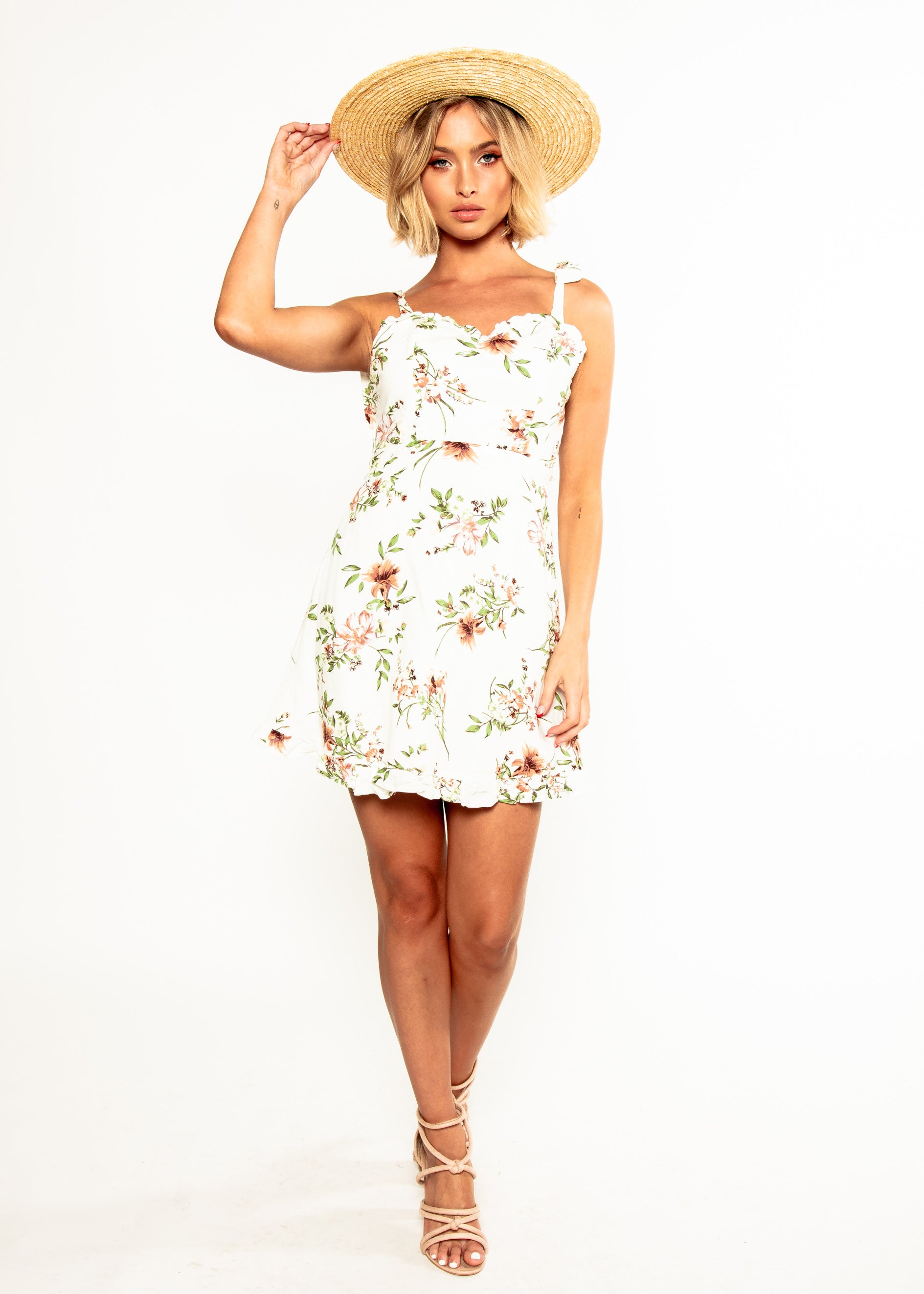 Thinking 'Bout You Dress - White Floral