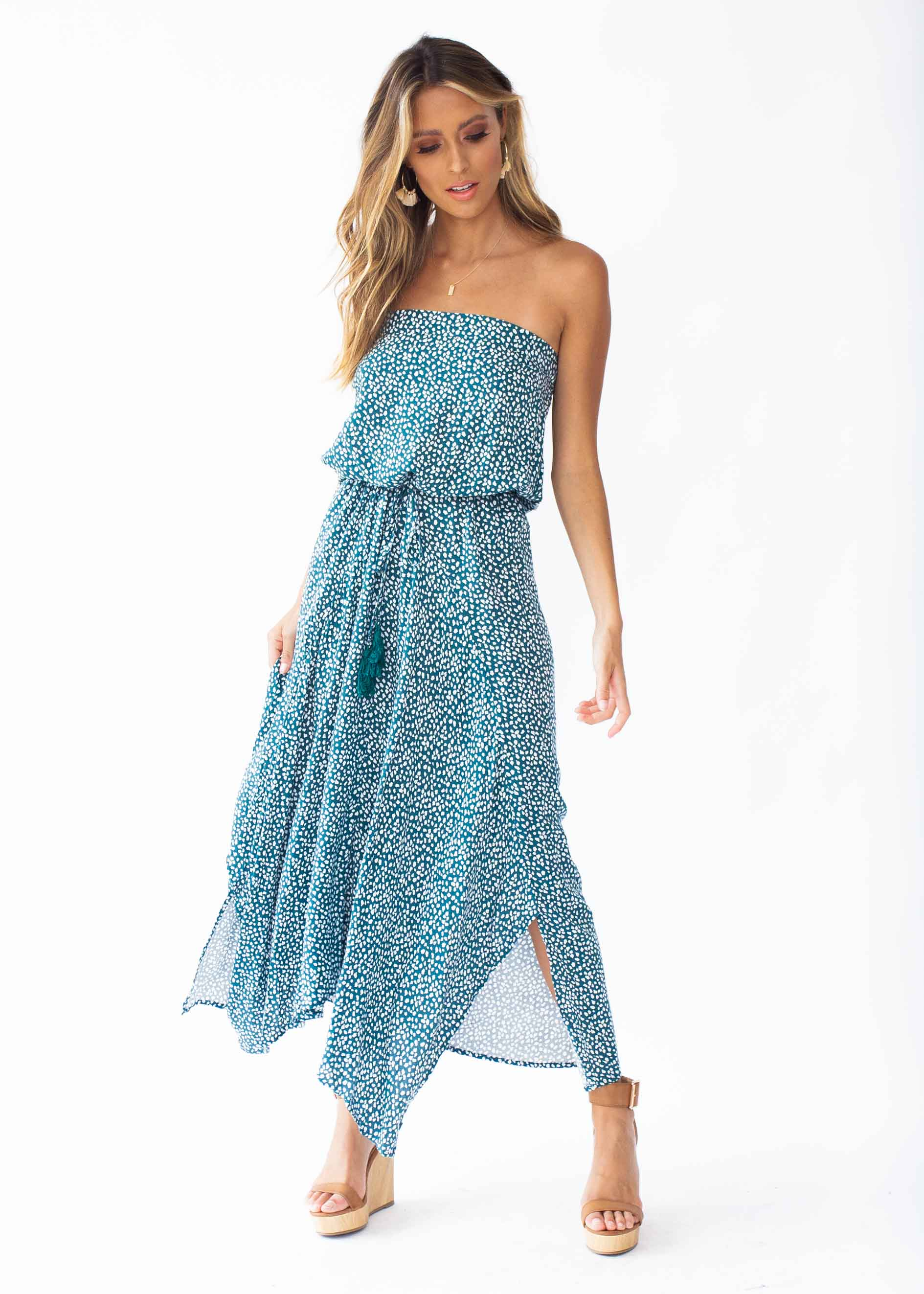 New Freedom Strapless Maxi Dress - Emerald – Gingham and Heels 5a34e0add