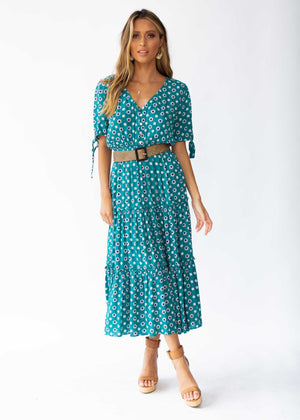 All I Ask Midi Dress - Green Floral
