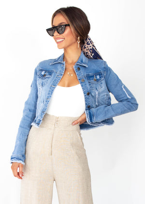 Small Steps Denim Jacket - Mid Blue