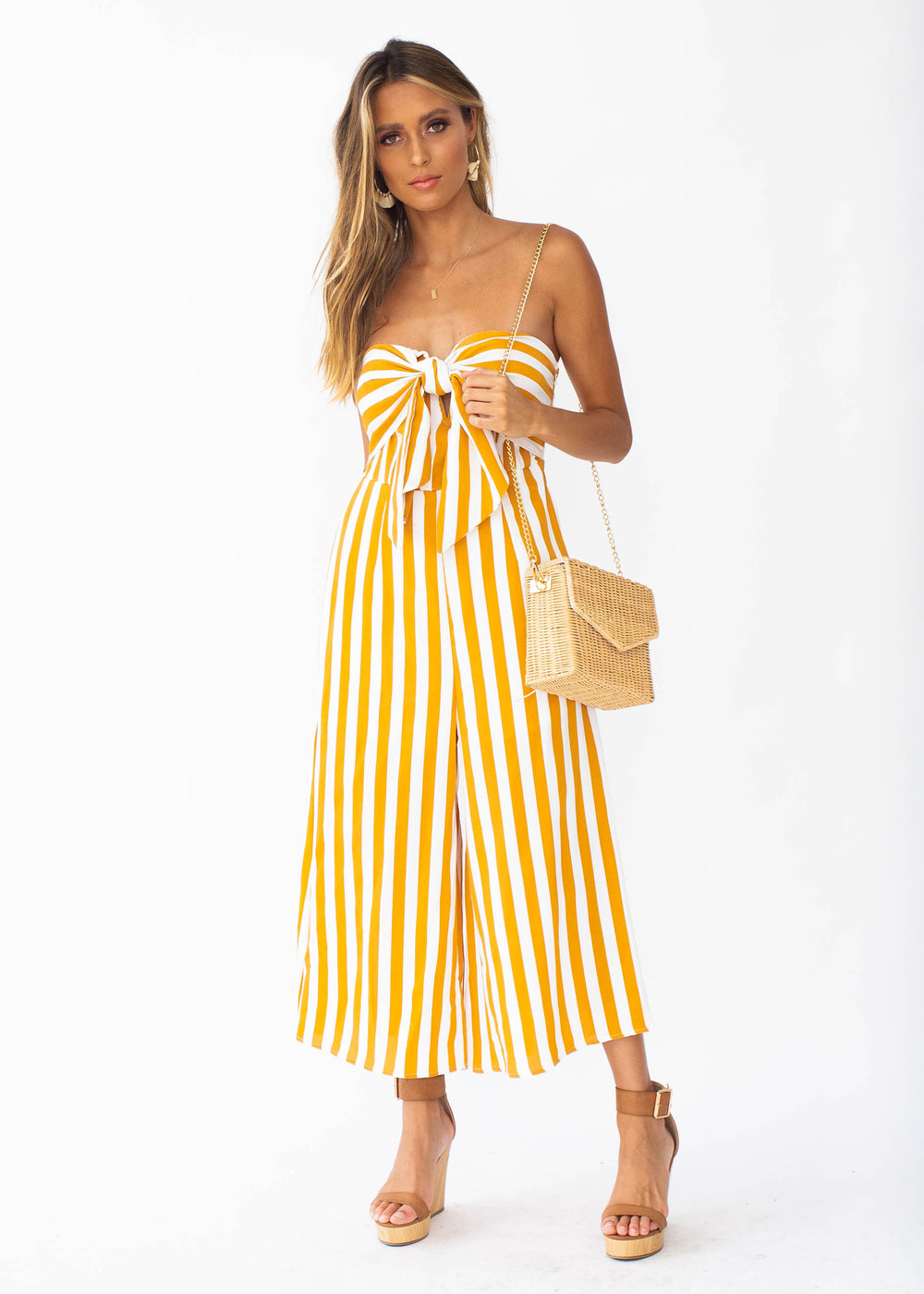 Get To It Strapless Pantsuit - Tangerine Stripe