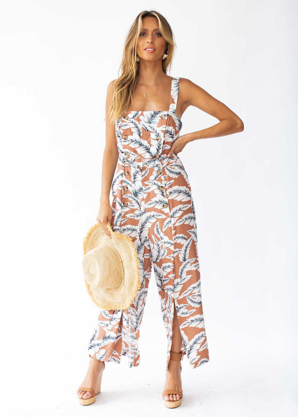 Mad Love Pantsuit - Cinnamon Palm