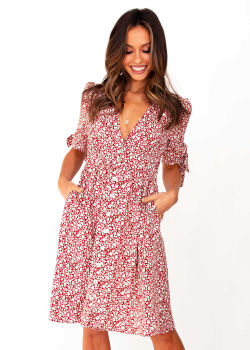 Women's Mariposa Midi Dress - Red Floral Print