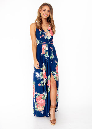 9177863212 Sienna Halter Maxi Dress - Navy Floral – Gingham and Heels