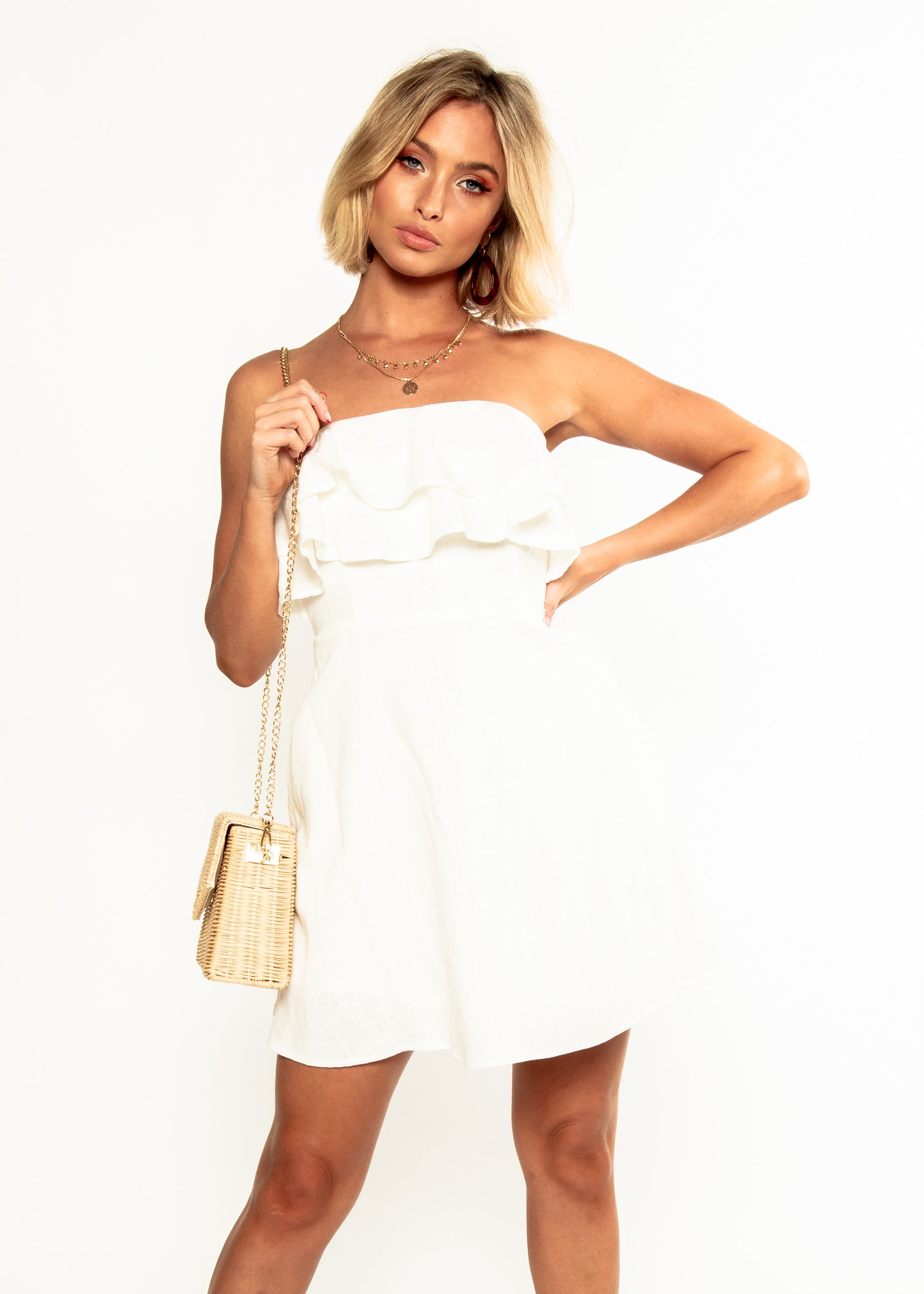 Nevaeh Linen Strapless Dress - White