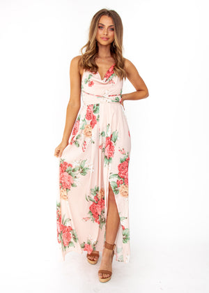 64db853cd4 Sienna Halter Maxi Dress - Peach Floral – Gingham and Heels