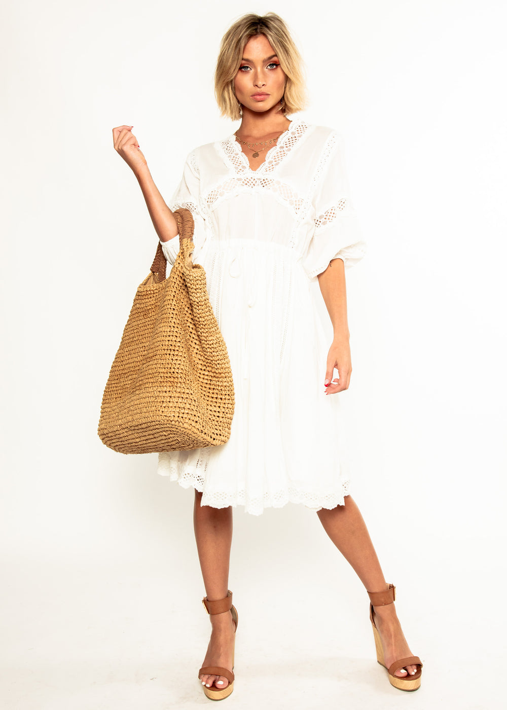 We Are Free Cotton Midi Dress - White
