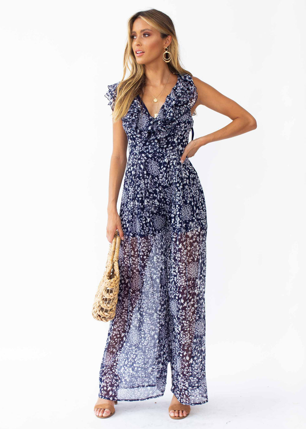 Once Before Pantsuit - Navy Floral