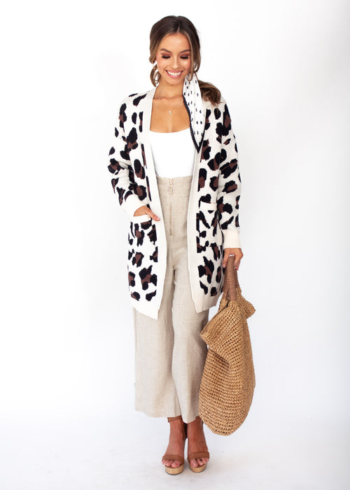 Better Than Ever Cardigan - Cream Leopard Print