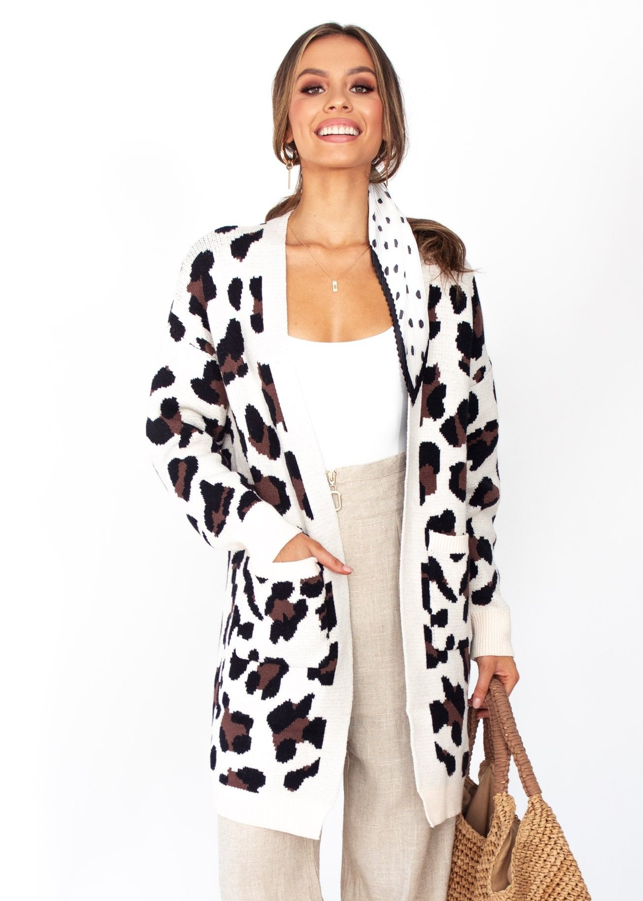 Women's Better Than Ever Cardigan - Cream Leopard Print