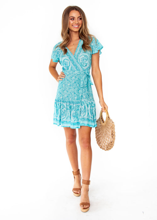 Women's Le Sienna Wrap Dress - Aqua Paisley Print