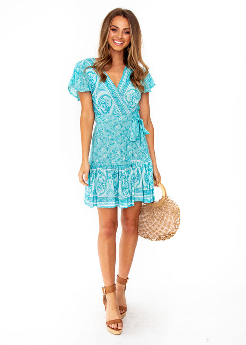 Le Sienna Wrap Dress - Aqua Paisley Print
