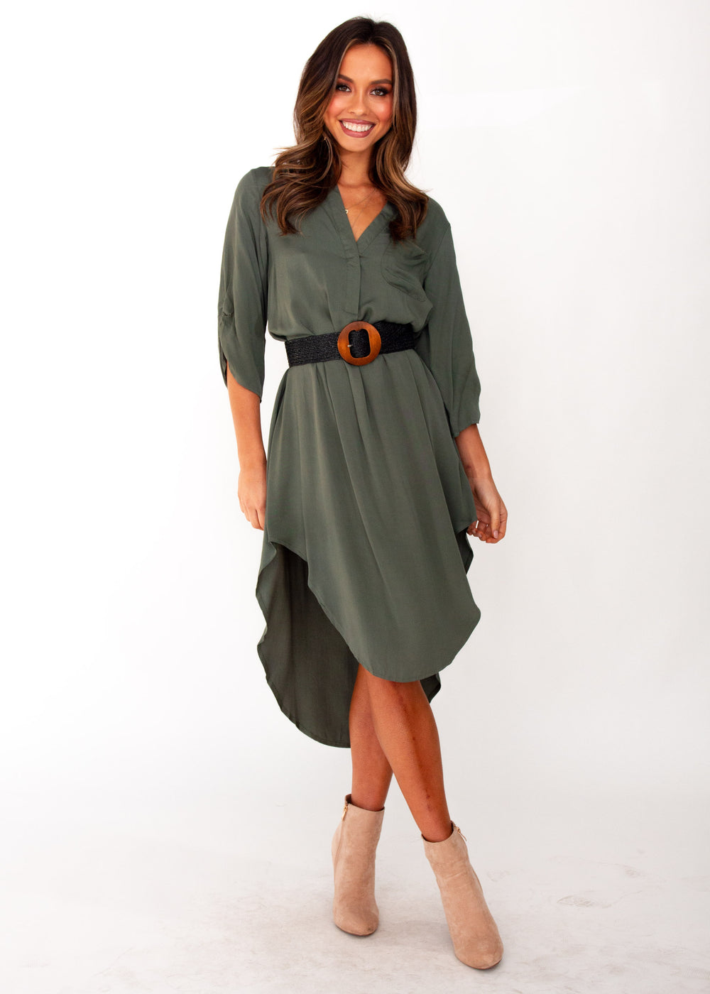 Women's Life With You Tunic Midi Dress - Khaki