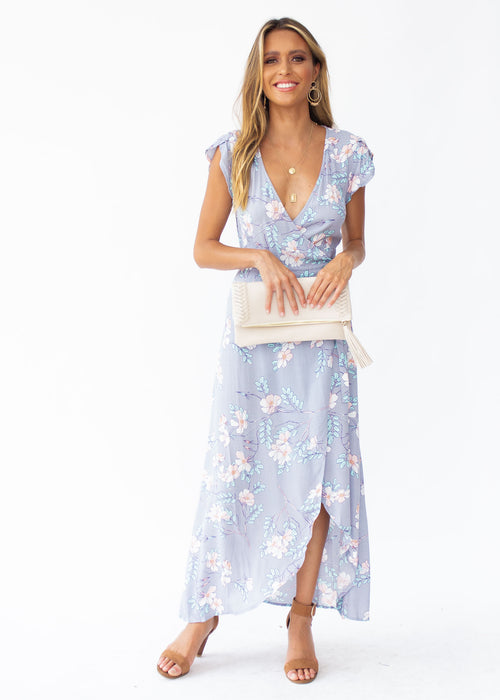 Cortez Maxi Wrap Dress - Silver Skies